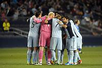 Sporting KC huddle..Sporting Kansas City defeated Montreal Impact 2-0 at Sporting Park, Kansas City, Kansas.