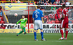 Aberdeen v St Johnstone...31.08.13      SPFL<br /> Stevie Banks clears the ball<br /> Picture by Graeme Hart.<br /> Copyright Perthshire Picture Agency<br /> Tel: 01738 623350  Mobile: 07990 594431