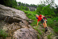 Berchtesgaden National Park, Bavavia, Germany, July 2004. Descending from the wasseralm hut into the valley.  We are trekking  from hut to hut in the Bavarian mountains of Berchtesgaden. Photo by Frits Meyst/Adventure4ever.com