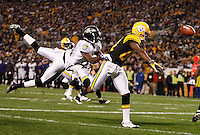PITTSBURGH, PA - NOVEMBER 06: Antonio Brown #84 of the Pittsburgh Steelers has a pass defended by Ladarius Webb #21 of the Baltimore Ravens during the game on November 6, 2011 at Heinz Field in Pittsburgh, Pennsylvania.  (Photo by Jared Wickerham/Getty Images)