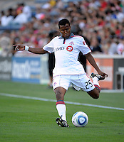 Toronto defender Danleigh Borman (25) crosses the ball.  The Chicago Fire defeated Toronto FC 2-0 at Toyota Park in Bridgeview, IL on August 21, 2011.