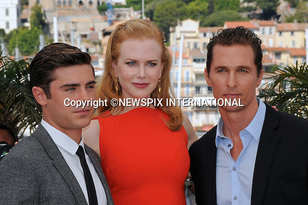 """Cannes,24.05.2012: NICOLE KIDMAN FASHION FAUX-PAS.During """"The Paperboy"""" photocall at the 65th Cannes International Film Festival, Kidman committed a fashion faux by exposing her bra strap..Kidman is prctured with Mathew McConaughey and Zac Efron..Mandatory Credit Photos: ©Traverso-Photofile/NEWSPIX INTERNATIONAL..**ALL FEES PAYABLE TO: """"NEWSPIX INTERNATIONAL""""**..PHOTO CREDIT MANDATORY!!: NEWSPIX INTERNATIONAL(Failure to credit will incur a surcharge of 100% of reproduction fees)..IMMEDIATE CONFIRMATION OF USAGE REQUIRED:.Newspix International, 31 Chinnery Hill, Bishop's Stortford, ENGLAND CM23 3PS.Tel:+441279 324672  ; Fax: +441279656877.Mobile:  0777568 1153.e-mail: info@newspixinternational.co.uk"""