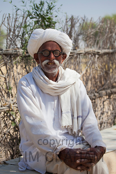 Indian Bishnoi man at Bishnoi village near Rohet in Rajasthan, Northern India