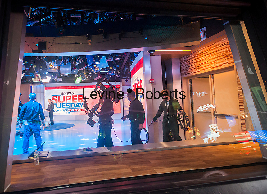 The ABC Eyewitness News studios in Times Square in New York readies for its Super Tuesday coverage on March 1, 2016. (©Richard B. Levine)
