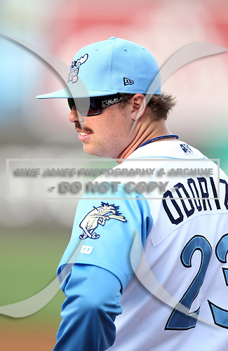 Wilmington Blue Rocks pitcher Glenn Gibson wears a Jake Odorizzi jersey to catch the first pitch before a game against the Lynchburg Hillcats at Frawley Stadium on May 3, 2011 in Wilmington, Delaware.  Lynchburg defeated Wilmington by the score of 11-1.  Photo By Mike Janes/Four Seam Images