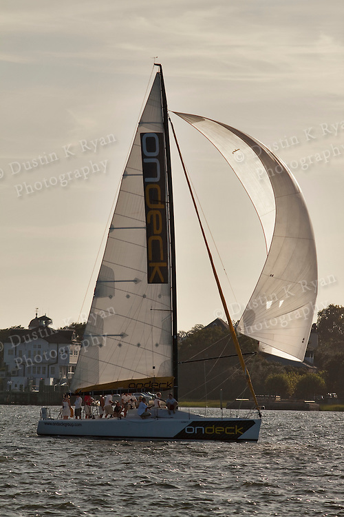 Ondeck farr 40 sailing and racing on the Charleston harbor in Charleston South Carolina for the CORA Wed night race series