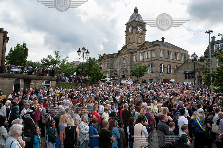 Approximately 2,000 people gathered in Batley Market Place at an event to celebrate the 42nd birthday of Labour MP Jo Cox on 22 June 2016. Jo Cox was murdered nearby on the 16 June  2016 in her West Yorkshire constituency of Batley and Spen.