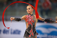 Daria Dmitrieva of Russia (junior) performs with ribbon during event finals at 2008 European Championships at Torino, Italy on June 7, 2008.  Photo by Tom Theobald.