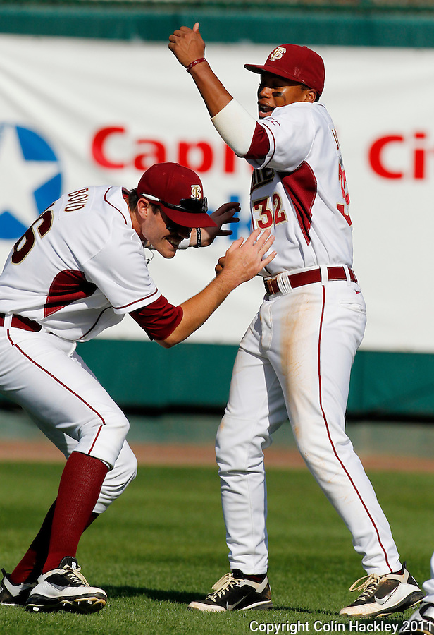 TALLAHASSEE, FL 2/26/11-FSU-HOFSTRA BASE11 CH-Florida State's Jayce Boyd, left, and Sherman Johnson clown around before the Hofstra game Saturday at Dick Howser Stadium in Tallahassee. The Seminoles beat the Pride 16-3...COLIN HACKLEY PHOTO