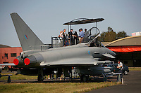 The four-nation Eurofighter Typhoon is a foreplane delta-wing, beyond-visual-range, close air fighter aircraft with surface attack capability. This mock up was being shown to the press in preparation to an upcoming airshow at Rygge airport, and is one of the planes being considered to replace Norway's ageing F-16 fighters. Norway