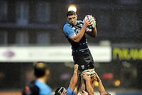 Seb Davies of Cardiff Blues wins the ball at a lineout. European Rugby Challenge Cup match, between Cardiff Blues and Bath Rugby on December 10, 2016 at the Cardiff Arms Park in Cardiff, Wales. Photo by: Patrick Khachfe / Onside Images