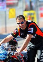 Oct. 28 2011; Las Vegas, NV, USA: NHRA pro stock motorcycle rider Eddie Krawiec during qualifying for the Big O Tires Nationals at The Strip at Las Vegas Motor Speedway. Mandatory Credit: Mark J. Rebilas-US PRESSWIRE