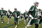 DURHAM, NC - MARCH 11: Loyola players race onto the field after breaking from a huddle. The Duke University Blue Devils hosted the Loyola University Maryland Greyhounds on March 11, 2017, at Koskinen Stadium in Durham, NC in a Division I College Men's Lacrosse match. Duke won the game 15-7.