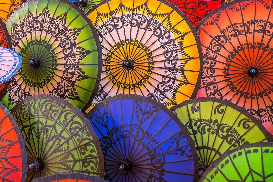 Close up view of colorful Burmese Umbrellas