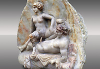 Erotic Roman Bas Relief Sculpture of a man & woman having sex Pompeii. 1st Cent AD, Naples Archaeological Museum