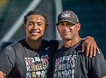 20 August 2015: Tri-City ValleyCats infielder Dexture McCall (left), poses with Pitching Coach Chris Holt prior to a game against the Vermont Lake Monsters at Centennial Field in Burlington, Vermont. The Stedler Division-leading ValleyCats defeated the Lake Monsters 5-2 in NY Penn League action. Mandatory Credit: Ed Wolfstein Photo *** RAW Image File Available ****