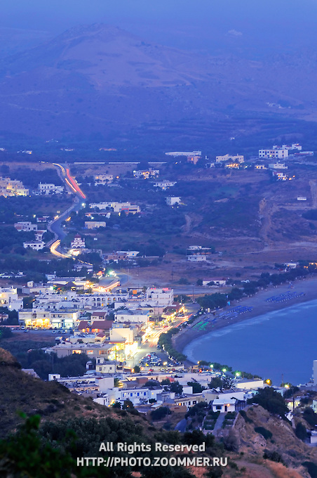 Evening lights and colors of Southern Crete village Plakias