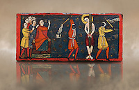 Romanesque painted Beam depicting The Passion and the Stations of the Cross<br /> <br /> Around 1192-1220, Tempera on wood from Catalonia, Spain.<br /> <br /> Acquisition of Museums Board's campaign in 1907. MNAC 15833.<br /> <br /> It is not known what was the original location of the beam, but it might have been part of the structure of a canopy. In any case, it was reused in a ceiling, as evidenced by the cuts that are at the top. It is decorated with seven scenes from the Passion and Resurrection of Christ, this scene shows Christ being whipped on the road to Calvary. The narrative character in the images and the predominance of yellow is typical of Catalan painting of the 1200&rsquo;s,  specifically with illustrations of Liber Feudorum Maior, a late twelfth-century illuminated cartulary book style of the Crown of Aragon