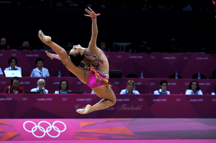 August 10, 2012; London, Great Britain;  DARIA DMITRIEVA of Russia performs with ribbon during day 2 of rhythmic gymnastics qualifying at London 2012 Olympics.