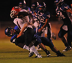 Water Valley's Tanner Shuffield (50) makes a tackle vs. Coffeeville in Water Valley, Miss. on Friday, August 26, 2011.