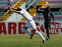 Sadi Jalali (9) of Canada celebrates his goal during the group stage of the CONCACAF Men's Under 17 Championship at Jarrett Park in Montego Bay, Jamaica. Canada defeated Barbados, 8-0.