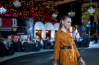 A model on the catwalk at the opening dinner of the Singapore Fashion Week 2013.