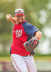 22 February 2013: Washington Nationals' third baseman Chad Tracy fields infield grounders during a full squad Spring Training workout at Space Coast Stadium in Viera, Florida. Mandatory Credit: Ed Wolfstein Photo *** RAW File Available ***