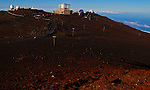 The astronomy observatories atop 10,023 foot Haleakala Volcano Crater in Haleakala National Park on the Island of Maui, Hawaii. - Photo by Jim Urquhart/Straylighteffect.com<br />