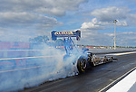Jan. 17, 2012; Jupiter, FL, USA: NHRA top fuel dragster driver Khalid Albalooshi during testing at the PRO Winter Warmup at Palm Beach International Raceway. Mandatory Credit: Mark J. Rebilas-