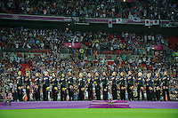 London, England - Thursday, August 9, 2012: The USA defeated Japan 2-1 to win the London 2012 Olympic gold medal at Wembley Stadium. Team USA sings the national anthem. .