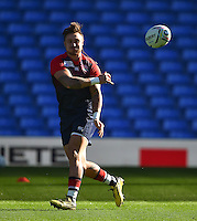 Jack Nowell of England passes the ball. England Captain's Run on October 9, 2015 at Manchester City Stadium in Manchester, England. Photo by: Patrick Khachfe / Onside Images