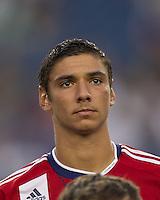 Chivas USA defender Zarek Valentin (20). In a Major League Soccer (MLS) match, Chivas USA defeated the New England Revolution, 3-2, at Gillette Stadium on August 6, 2011.