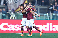 ROMA, Italy: December 22, 2013: As Roma beats Catania 4-0 during the Serie A match played in the Olimpico Stadium. In the photo Mehdi benatia celebrating the goal of 1-0 scored