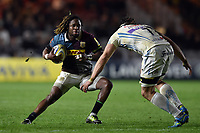 Marland Yarde of Harlequins in possession. Aviva Premiership match, between Harlequins and Exeter Chiefs on April 14, 2017 at the Twickenham Stoop in London, England. Photo by: Patrick Khachfe / JMP