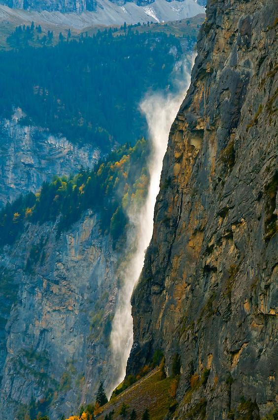 Staubbach Waterfalls in the Lauterbrunnen Valley, Canton Bern, Switzerland