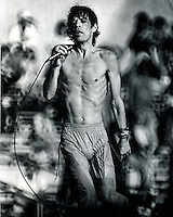Mick Jagger performing at the Oakland Alameda County Coliseum in a 1978 concert. (photo by Ron Riesterer)