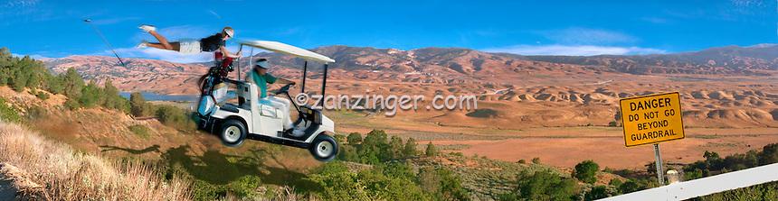 California Aqueduct Gorman Hills West-Branch, Quail Lake, Panorama CGI Backgrounds,