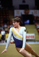 Anja Wilhelm of West Germany performs on floor exercise at 1985 European Championships in women's artistic gymnastics at Helsinki, Finland in late April, 1985.  Photo by Tom Theobald.
