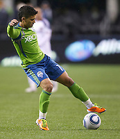 Seattle Sounders FC forward Fredy Montero gets control of the ball during play against the L.A. Galaxy at Qwest Field in Seattle Tuesday March 15, 2011. The Galaxy won the game 1-0.