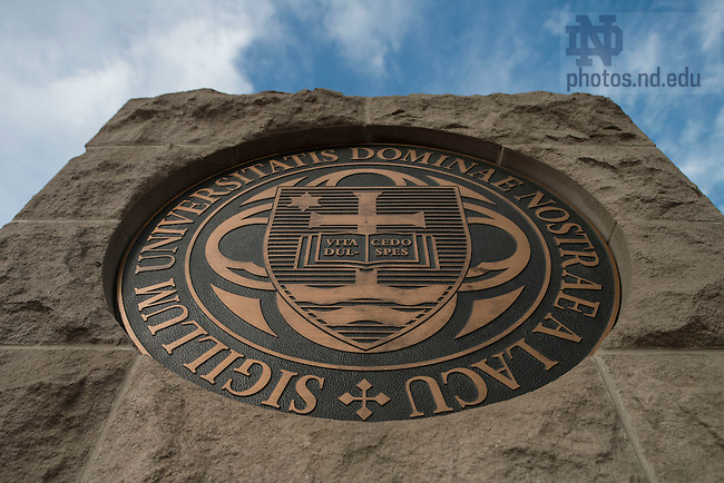 Oct. 24, 2014; The University Seal at the main entrance on Notre Dame Ave. (Photo by Barbara Johnston/University of Notre Dame)