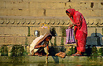 Asia, India, Varanasi. Women of the Ganges River.