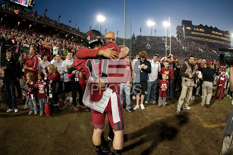 STANFORD, CA - November26, 2011: Griff Whalen and  Head Coach David Shaw before the Stanford vs. Notre Dame game Saturday night at Stanford Stadium.<br /> <br /> The Cardinal beat the Fighting Irish 28-14.