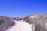 Ile du Havre-aux-Maisons, Iles de la Madeleine, Quebec, Canada - People walking to Beach at Dune du Nord - (North Dune, House Harbour Island, Magdalen Islands)