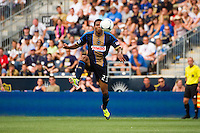 Lionard Pajoy (23) of the Philadelphia Union. The Philadelphia Union defeated Toronto FC 3-0 during a Major League Soccer (MLS) match at PPL Park in Chester, PA, on July 8, 2012.