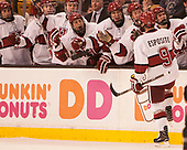 Luke Esposito (Harvard - 9) - The Harvard University Crimson defeated the Northeastern University Huskies 4-3 in the opening game of the 2017 Beanpot on Monday, February 6, 2017, at TD Garden in Boston, Massachusetts.