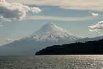 Chile, Lake Country: View of Osorno Volcano while riding across Lake Todos Los Santos..Photo #: ch628-33950..Photo copyright Lee Foster www.fostertravel.com, lee@fostertravel.com, 510-549-2202.