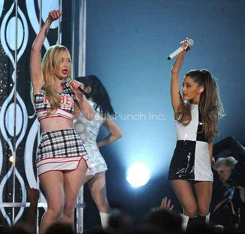 LAS VEGAS, NV - MAY 18: 5 Ariana Grande and Iggy Azalea perform on the 2014 Billboard Music Awards at the MGM Grand Garden Arena on Sunday, May 18, 2014 in Las Vegas, Nevada.PGMicelotta/MediaPunch