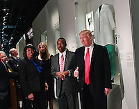United States President Donald Trump looks at the Ben Carson exhibit with Ben Carson and Ivanka Trump (center) as he visits the Smithsonian National  Museum of African American History and Culture in Washington, DC on February 21, 2017.   <br /> Credit: Kevin Dietsch / Pool via CNP /MediaPunch