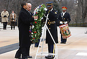 Arlington, VA - January 18, 2009 -- United States President-elect Barack Obama  and Vice President-elect Joseph Biden lay a wreath at the Tomb of the Unknown Soldier at Arlington National Cemetery on Sunday, January 18, 2009..Credit: Dennis Brack - Pool via CNP