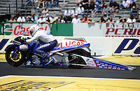 Jun. 2, 2012; Englishtown, NJ, USA: NHRA pro stock motorcycle rider Hector Arana Jr during qualifying for the Supernationals at Raceway Park. Mandatory Credit: Mark J. Rebilas-